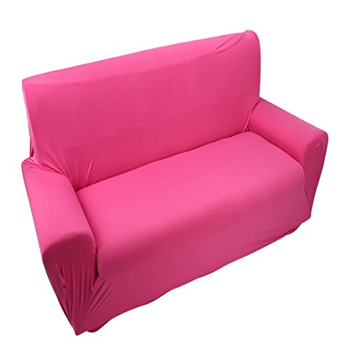 Funda de Sofá 2 Plazas De Estiramiento Elástico Deslizador Sofá Cubiertos De Sofá Forma Form Ajuste Color Sólido Muebles Protector Rose Rojo