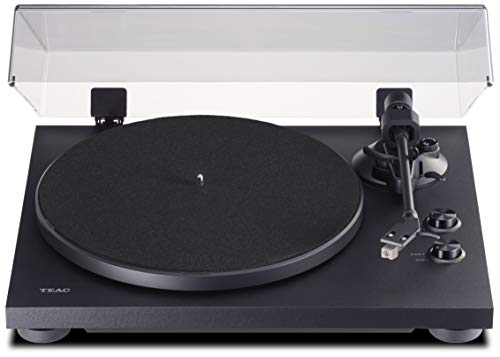Teac TN-280BT-A3 HiFi Plattenspieler mit Bluetooth Sender für Lautsprecher und Kopfhörer, (Aluminium-Druckgussplatte, Riemenantrieb, MM Phono-Vorverstärker, High-Density MDF-Gehäuse), Schwarz