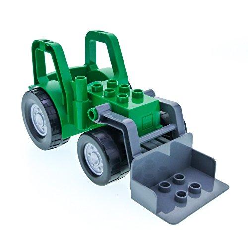 1 x Lego Duplo Traktor grün grau mit Schaufel groß Bauernhof Auto Trecker Frontlader 4687 47444