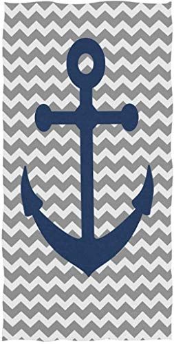 Ancla náutica Patrón de zig-Zag Toalla de Mano Decorativa Grande y Suave Altamente Absorbente para baño, Hotel, Gimnasio y SPA