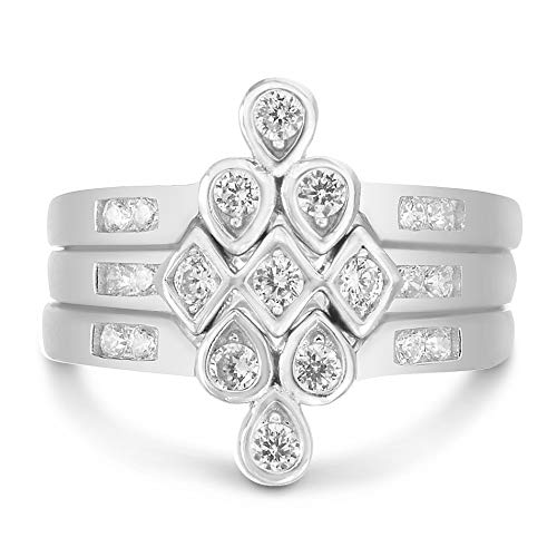 Sterling Silver V Shaped Round Trio Ring Stack with Cubic Zirconia Chevron Three Piece Dainty Puzzle Stacking Rings (Size 8)