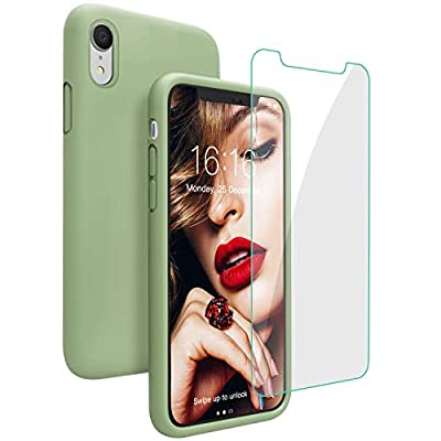 JASBON Case for iPhone XR, Soft Liquid Silicone iPhone XR Case with Tempered Glass Cover for iPhone XR-Matcha