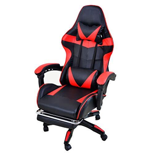 Verstellbarer Bürostuhl mit hoher Rückenlehne, Hausspiel, Rennstuhl, Stuhl, Freizeitstuhl, Stuhl, Rot (mit Schrauben), Fuß aus Nylon