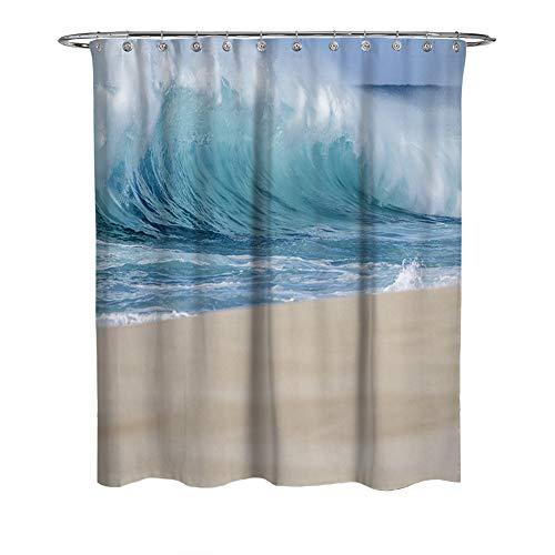 3D digitale afdrukken oceaan golven badkamer gordijn voor Home Decor, waterdicht en meeldauw gemakkelijk te plaatsen stof douchegordijn voor bad bad bad en douchecabine, met 12 stuks haken