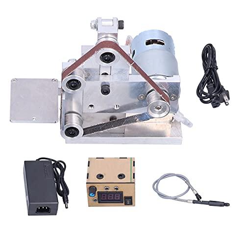 Mini Lijadora de Banda Amoladora Lijadora de Banco Bricolaje Pulido Cinturón Kit de Mesa de Trabajo DC12-24V 4500rpm Cinturón Aplicable 13 X 0,4 Pulgadas(EU Plug)