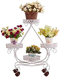 Nuokix 4 Pots Plant Stand Plant Display Shelf Garden Cart Rack - European Style Triangle Style for Indoor and Outdoor Deco...