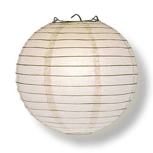 Quasimoon PaperLanternStore Decorative Paper Lantern - (Single, 24-Inch, White, Even Ribbing) Round Paper Lantern - Ideal Wedding and Party Decor or Home Accent, Lighting Optional