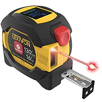 LEXIVON 2 in 1 Digital Laser Tape Measure | 130ft/40m Laser Distance Meter Display On Backlit LCD Screen with 16ft/5m AutoLock Measuring Tape | Ft/Inch/Fractions/M/mm LX-201