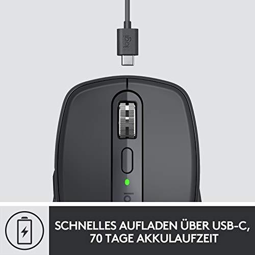 Logitech MX Anywhere 3 kompakte, leistungsstarke Maus – Kabellos, Magnetisches Scrollen, ergonomisch, anpassbare Tasten, USB-C, Bluetooth, Apple Mac, iPad, Windows PC, Linux, Chrome - Grafit - 8