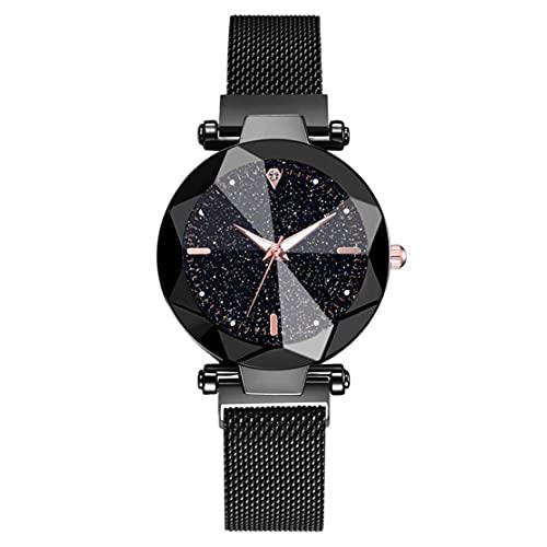 bansd Nuevo Reloj de Cielo Estrellado + Conjunto de Pulsera, Reloj de Estilo Coreano, Moda Luminosa, Hebilla magnética Perezosa Salvaje, Reloj para Mujer, Elegante a la Moda