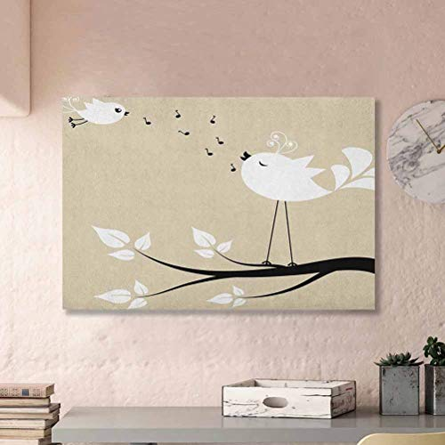 ParadiseDecor Birds Flower Wall Decor Two Birds on a Branch Singing Love Songs Friend Valentine Couple Hope Living Baby Gifts Cream Black White L12 x H18 Inch