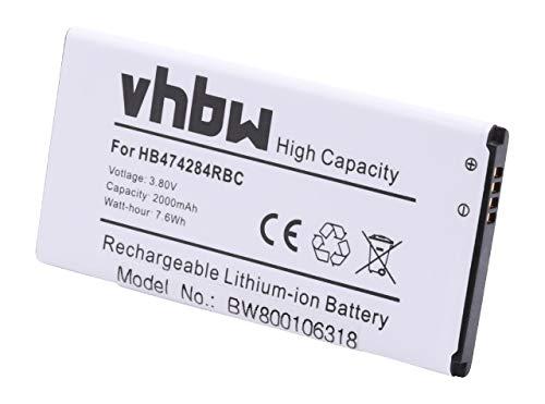 vhbw Akku kompatibel mit Huawei Ascend Y625-U51 Dual SIM, Y635, Y635-CL00, Y635-L01 Handy Smartphone Handy (2000mAh, 3,8V, Li-Ion)