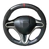 0SQDa - Funda de piel de ante de fibra de carbono para volante de coche, transpirable, para Honda Civic Civic 8 2006-2011 (línea roja)