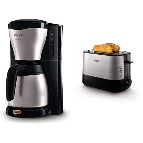 Philips HD7546/20 - Cafetera de goteo café Gaia, 1000 W, jarra térmica con capacidad para 10-15 tazas, color plata + Daily HD2637/90 - Tostador 950 W, Doble Ranura, Color Negro, Inox
