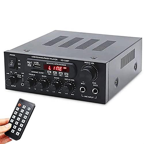 Amplificador Bluetooth 5.0 con Entrada de Karaoke Amplificador de Potencia de 2.0 Canales Mini Receptor AV HiFi Audio Estéreo Música para PC Teléfono móvil TV Fiesta Teatro en casa Música