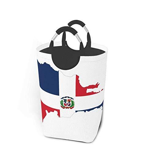 República Dominicana Mapa Bandera Cesto de lavandería Cesto de lavandería de tela plegable Bolsa de ropa sucia grande Papelera de lavado plegable Organizador de lavandería duradero para almacenamiento