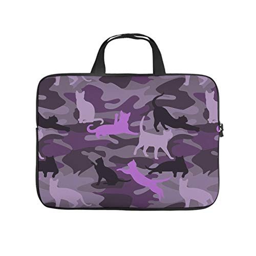 Camouflage Cat Purple Laptop Tote Bag Waterproof Tote Bag for Notebook/MacBook/Ultrabook/Chromebook White 12 Zoll