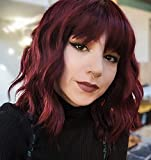 """Menoqi Short Wine Red Wigs for Women, 11"""" Burgundy Curly Wavy Bob Wig with Bangs, Natural Looking Cute Synthetic Hair Replacement Wigs for Daily Party WIG238B"""