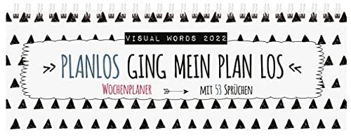 Tischquerkalender Visual Words 2022: 1 Woche 2 Seiten; Bürokalender mit viel Platz für Notizen; Format: 29,8 x 10,5 cm