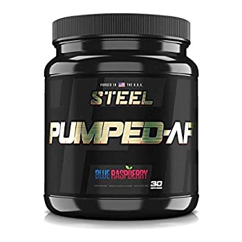 Steel Supplements Pumped-AF Pre Workout Powder with N.O.7 6g L-Citrulline & Kre-Alkalyn   Non Stimulant Caffeine Free Increase Blood Flow & Hydration   30 Servings  Blue Raspberry