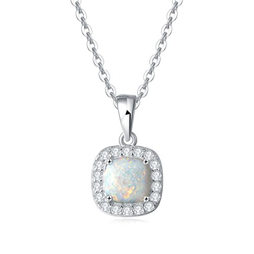 """Carleen 14K White Gold Plated 925 Sterling Silver CZ Cubic Zirconia/Created Opal Halo Pendant Necklace for Women Girls, 18"""" Silver Chain (Square Created Opal)"""