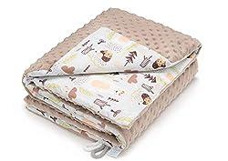 EliMeli - Copertina per bambino adatta per gattonare in morbido pile Minky Dots, con imbottitura in cotone di alta qualità, 75 x 100 cm