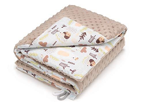 EliMeli Minky Babydecke Kuscheldecke Krabbeldecke | super weichem Minky Dots Polar Fleece | Baumwolle | Füllung | 75x100 hoch Qualität (Beige - Teddys und Igel)