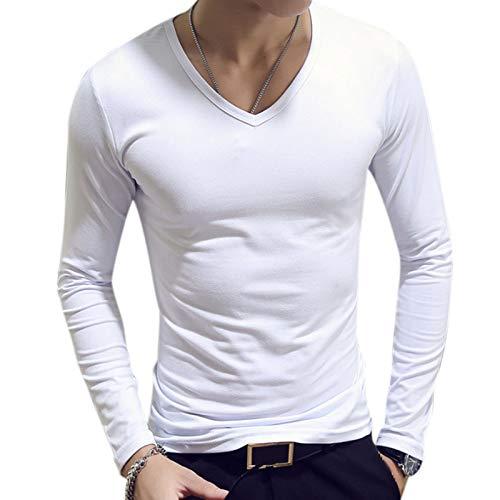 Zehui Camisa de Manga Larga de los Hombres, Camiseta de Moda de algodón Suave, Camiseta de Color sólido…