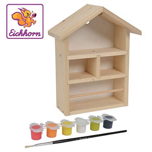 Eichhorn 100004584 Outdoor Bienenhaus zum zusammenbauen und bemalen, inkl. Pinsel und Farbe, aus Lindenholz