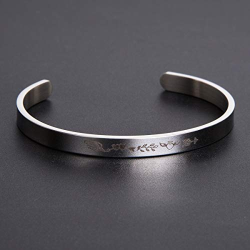PJ Jewelry Keep Going Inspirational Quote Bangle Bracelet Stainless Steel Encouragement Jewelry Gift