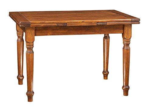 Biscottini Table Extensible en Bois Massif de Tilleul – Style Country – Style Shabby – Structure et Plateau en Noyer L 120 x P 80 x H 80 cm
