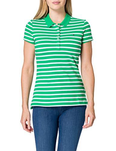 Tommy Hilfiger Short Sleeve Slim Polo Stripe Camiseta sin Mangas para bebés y niños pequeños, Classic Breton STP/Primario Verde, XXL para Mujer