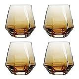 310 ml Geometría Whisky Cristal Diamante Cristal Copa Oro Borde Transparente Café Leche Té Taza Home Bar Bebidas Pareja Copa de Vidrio Set de 4 (Marrón)