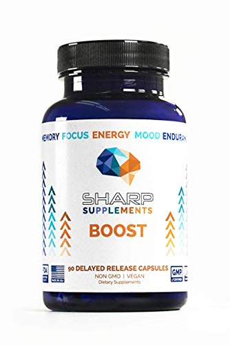 Boost by Sharp Supplements | Brain Supplement for Focus & Memory | Nootropics, Supplements for Mental Performance | Gingko Biloba, Alpha GPC, Bacopa Monnieri, Rhodiola Rosea | Focus Supplements