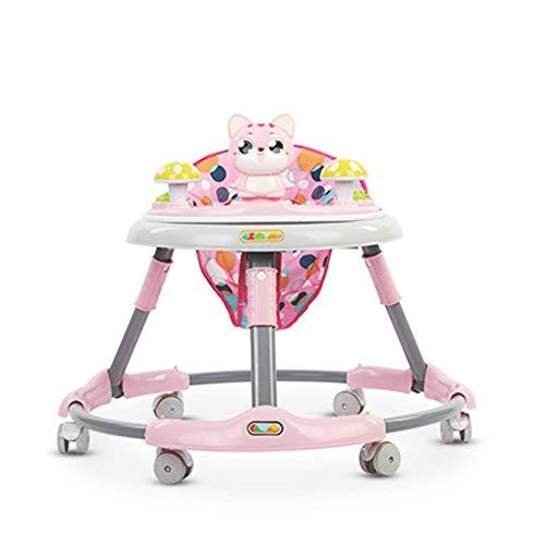 LIUCHANG Multifunctional Foldable Walker, Roll Cage for Children Walker for Adjustable Walker Cute Cartoon Shape Anti-Uuml;berrollgurt,Pink liuchang20