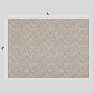 Vinyl Floor Mat, Durable, Soft and Easy to Clean, Ideal for Kitchen Floor, Dining Room or Play Mat. Freestyle, Shell Oceana Pattern (6 ft x 8 ft)