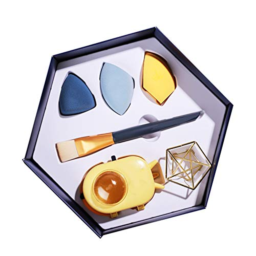 Caja de Regalo de Huevo de Esponja de Maquillaje Avanzada, Bocadillo de Maquillaje Sin Látex, Esponja Mixta de Base de Belleza, Herramientas de Maquillaje Profesional Multifuncionales Húmedas Y Seca