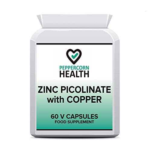 Zinc Picolinate with Copper, 60 Capsules, Food Supplement, Improved functionality of Nervous System and Normal Functioning of The Immune System. Peppercorn Health