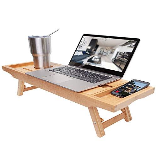 FXYY Bamboe Badkuip Caddy&Laptop Desk&Bed Lade Combo - met Uitschuifbare armen en verstelbare benen - Inclusief twee Spa Trays Tablet/Boek/Wijn Glas/Glas/Telefoonhouders