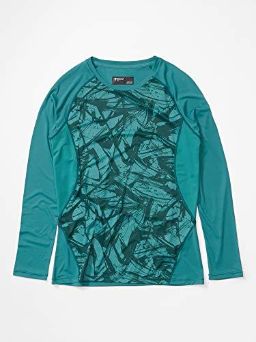 Marmot Wm's Crystal Ls T-Shirt Manche Longue, Chemise de randonnée, Idéal pour Le Sport, la Gym, séchage Rapide, Respirant Femme Deep Jungle Race Line FR: XS (Taille Fabricant: XS)