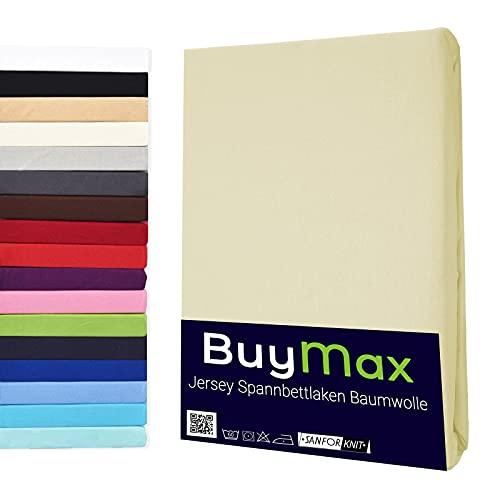Spannbettlaken 70x140cm Baumwolle 100% Kinderbett Spannbetttuch Bettlaken Jersey, Matratzenhöhe bis 15 cm, Farbe Beige