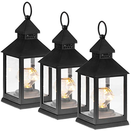 com-four® 3X LED Laterne mit Timer-Funktion - LED Beleuchtung zu Weihnachten - Batteriebetriebene Elektro-Laterne als Weihnachtsdekoration (03 Stück - schwarz Diamant)