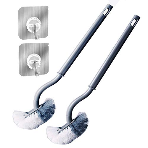 Toilet Brush Cleaner, Bathroom Toilet Brush with Hook, Ergonomic Deep Cleaning, Sturdy Cleaning Toilet Bowl Cleaner Brush Set for Bathroom Storage Organization 2Pack (Gray)