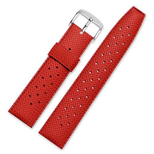 LINMAN 20mm 22mm Goma Impermeable Reloj Reloj Deporte Buceo Pulsera de Silicona Transpirable Pulsera de Silicona (Band Color : Red, tamaño : 20mm)