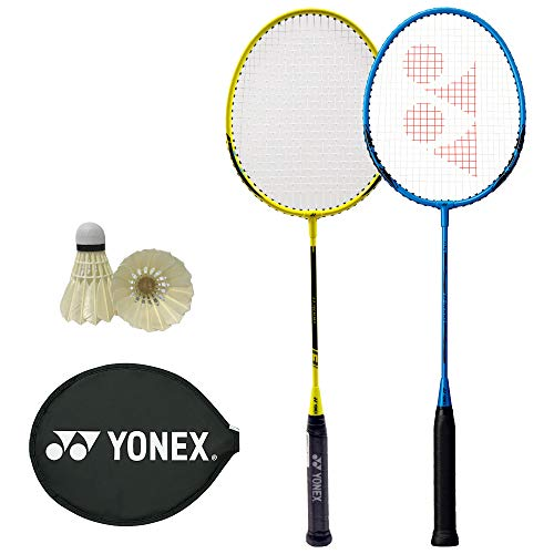 Badminton Racket with 2 Shuttlecocks for Beginners Practice Training Waterfowl Standard Yonex Case Strung (002 / 1 Blue + 004 / Yellow + 2 Shuttle)
