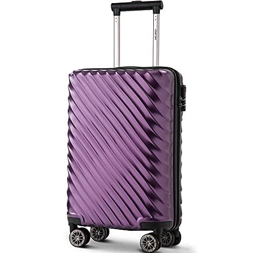 Takefuns Maletas giratorias de 4 ruedas con ruedas de plástico ABS duradero + PC Trolley Travel Case con cerradura (20/24/28/Set de 3) (S-20, púrpura)