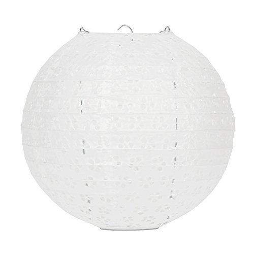 Dazone 10 Stück Papier Laterne Lampion rund Papierlampen Lampenschirm für Hochzeit Kirche Garten Party Dekoration Ballform (10