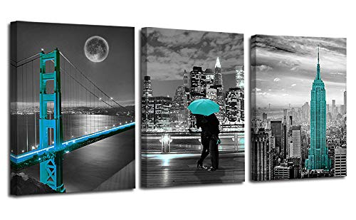 """Ardemy Canvas Wall Art Cityscape Teal Painting Golden Gate Bridge New York City Pictures, 12""""x16"""" x3 Panels Modern Romantic Artwork Framed for Bedroom Living Room Kitchen Wall Decor"""