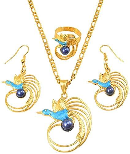 TYWZH Collar de pájaro con Collar de Perlas Azules, Pendientes, Conjuntos de Anillos para Mujer, Color Dorado, Estilo de joyería de Fiesta de Papua Guinea, Cadena de 60Cmx3Mm N