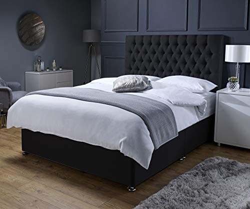 Revive Direct Premium - Black Suede Super King Size Bed with Mattress (Memory Foam Mattress), Designer Headboard and Chrome Feet - 2 Free Drawers Included - (6ft Superking- 180cm x 200cm)